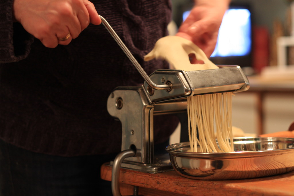 making noodles pasta machine